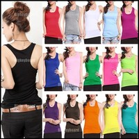Basic Women's Solid Tank Top Racer Back Cami Vest No Sleeve T-Shirt 16 Colors