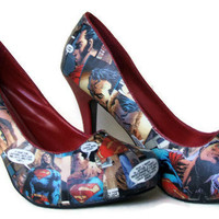 Superman - DC Comics - Comic Book Shoes - Heels Stilettos - Geekery - Red Patent Leather - Geekery - Women's Shoes