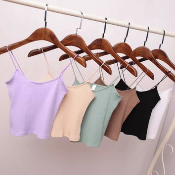 Stylish Beach Bralette Hot Comfortable Summer Sexy Cotton Crop Top Spaghetti Strap Vest [6332303108]