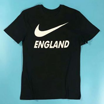 Nike Football England Tide Brand White LOGO Print Casual Couple Short Sleeve F-XMCP-YC Black