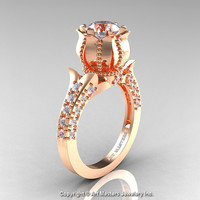 Classic 14K Rose Gold 1.0 Ct White Sapphire Diamond Solitaire Wedding Ring R410-14KRGDWS