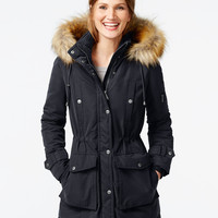 DKNY Faux-Fur-Trim Hooded Parka