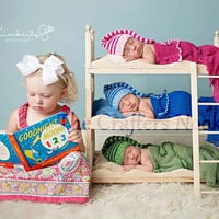 DIY Triple Doll Bed Bunk Bed Mattresses and Ladder Newborn Photography Prop Triplets, Boy Prop, Girl Prop