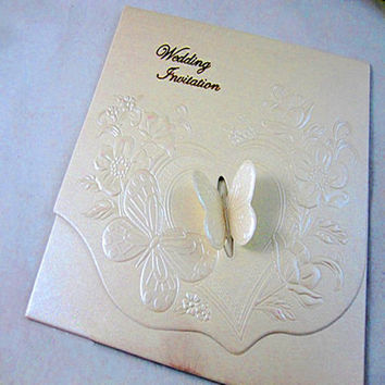 European DIY 3D Butterfly Tri-fold Cheap Embossed Wedding Invitations (Set of 50) Printable and Customizable