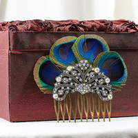 Feather peacock and crystal hair comb