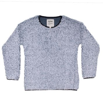 Solid Frosty Tipped Drop Shoulder Crew Sweater in Denim by True Grit (Dylan)