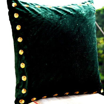 Green pillow - Green pillow in velvet with gold sequin detail - 20X20 Green throw pillows in velvet - Gift throw pillow- cushion covers