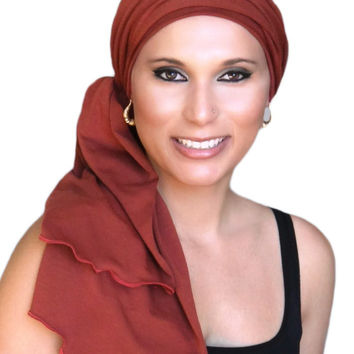Rust Jersey Turban, Head Wrap, Alopecia Scarf, Chemo Hat and Scarf Set