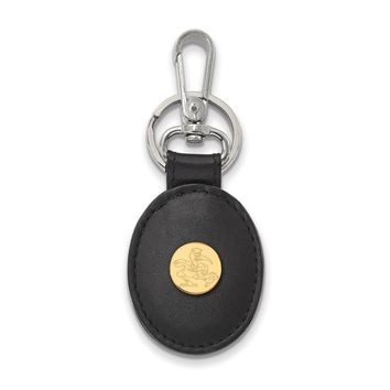 NCAA 14k Gold Plated Silver U of Miami Black Leather Key Chain