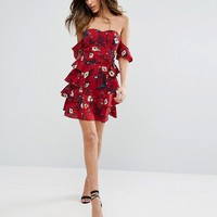 PrettyLittleThing Bardot Floral Print Mini Dress at asos.com