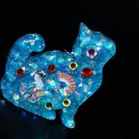Lolita accessory, resin ring, cats, geisha, Japan, Japanese jewelry, glittery, resin jewelry, antique tone, blue, summer, statement ring