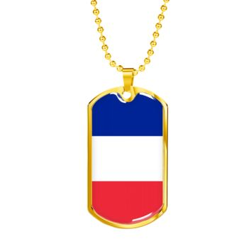 French Pride - 18k Gold Finished Luxury Dog Tag Necklace