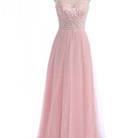 Sleeveless A-Line Pink Prom Dresses