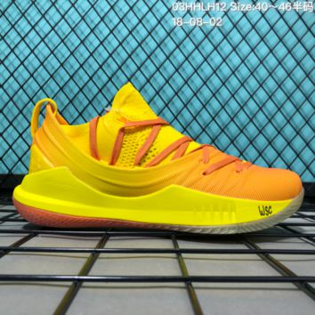 HCXX B300 Under Armour Curry 5 Actual Combat Basketball Shoes Yellow