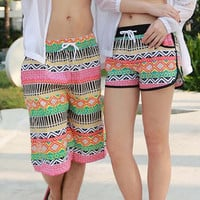 Summer Couple Shorts Bohemian Aztec Tribal Beach Shorts