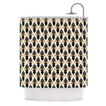 Nika Martinez Glitter Triangles In Gold Black Geometric Shower Curtain