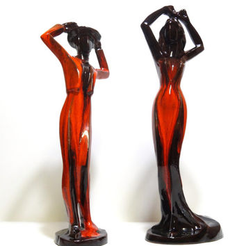 Pair of Vintage 1960s Mid Century Modern Minimalist Canadian Pottery Statues Dance Studio Decor Mad Men Red and Black