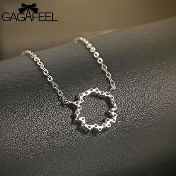 Circle Necklace 100% 925 Sterling Silver Jewelry Paved Tiny Zirconia Stones Silver Color Irregular Necklaces For Women