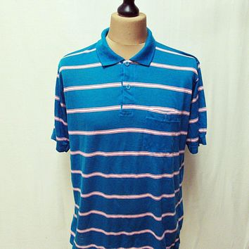 Vintage 1970s American South Stripy Grunge Indie Polo Shirt Large