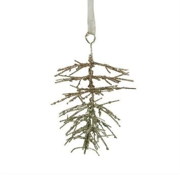 MDIGMS9 6' Silent Luxury Gold Glitter Drenched Pine Cone Christmas Ornament