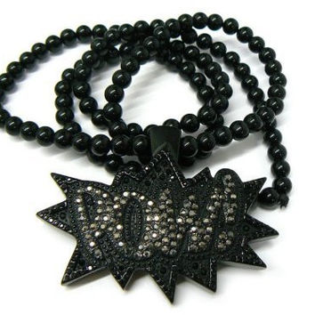 Black Iced Out Homica POW! Pendant and 36 Inch Beaded Necklace
