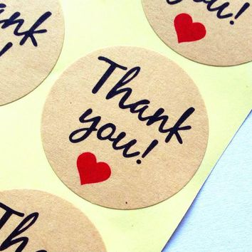 "100pcs Vintage""Thank you"" Heart Round Kraft paper Seal sticker For handmade products baking products sealing sticker lable"
