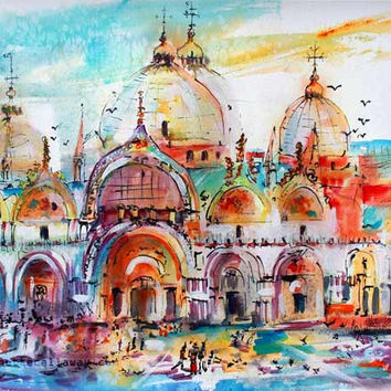 Venice Italy Piazza San Marco Saint Mark's Basilica Expressive Watercolor Original