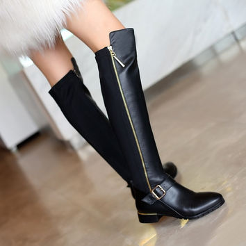 Plus size 34-42 Hot sale genuine pu leather boots buckle zipper square heel autu
