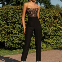 Tara Black Lace And Bandage Jumpsuit
