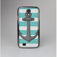 The Teal Stripes with Gray Nautical Anchor Skin-Sert Case for the Samsung Galaxy S4