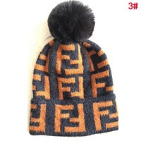 FENDI Autumn Winter Popular Women Men FF Letter Jacquard Knit Warm Hat Wool Cap