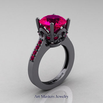 Classic 14K Grey Gold 3.0 Carat Rose Ruby Solitaire Wedding Ring R301-14GGRR