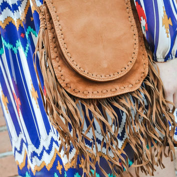 Fringe Cross Body Bag in Tan