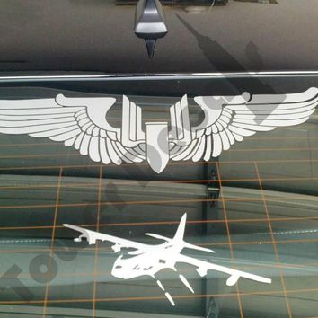 Aerial Gunner Machine Gun Bullet Wings  WWII Army Air Corps Vinyl Decal Sticker