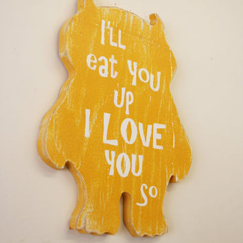 Nursery Wall Art Wood Nursery Sign Where The Wild Things Are Distressed Wood Sign Boy Nursery Girl Nursery Baby Gift I'll Eat You Up I Love