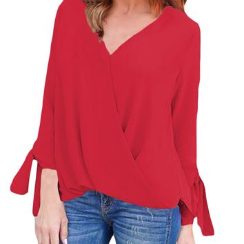 Red Womens V Neck Ruched Tie Sleeve Top