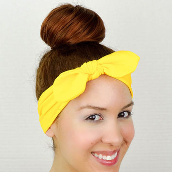 Turban Bow Yellow Yoga Headband Head Wrap Bow Yellow Headband Knit Turban Yellow Bow Headband Yellow Wide Headband Yellow Cheer Bow