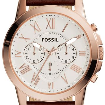 Fossil Grant Chronograph Brown Leather FS4991 Men's Watch