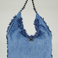 CHANEL Light Blue Quilted Denim Chain Large Hobo Bag