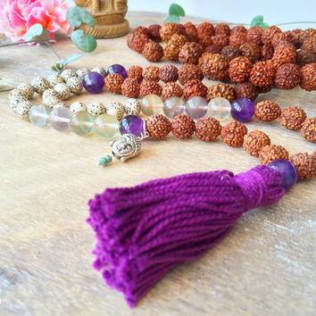 108 Mala Necklace wrap bracelet with tassel & Buddha charm. Rudraksha Fluorite Amethyst Lotus seed mala. Yoga Necklace, Meditation Jewelry