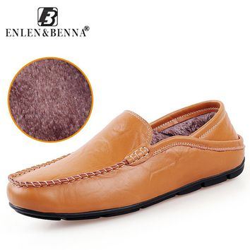Casual Fall Driving Shoes Men Genuine Leather Loafers-Multiple Colors
