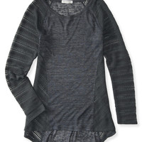 Aeropostale  Sheer Long Sleeve Pieced Hi-Lo Tunic