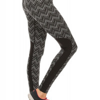Chevron Tile Jacquard Athletic Legging With Black Contrast