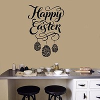 Easter Egg Wall Decals Happy Easter Decal Decorations Vinyl Sticker Nursery Home Decor Kitchen Cafe Restaurant Art Murals MS752