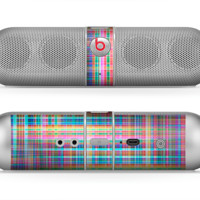 The Neon Faded Rainbow Plaid Skin for the Beats by Dre Pill Bluetooth Speaker
