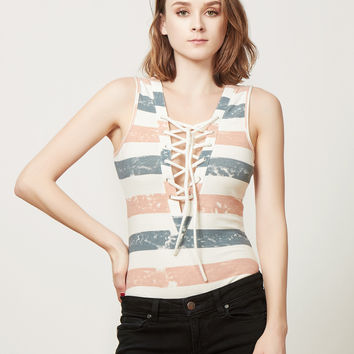 LE3NO Womens Ribbed Cotton Lace Up Front Striped Sleeveless Bodysuit