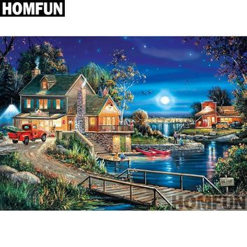 5D Diamond Painting Home by the Lake at Night Kit