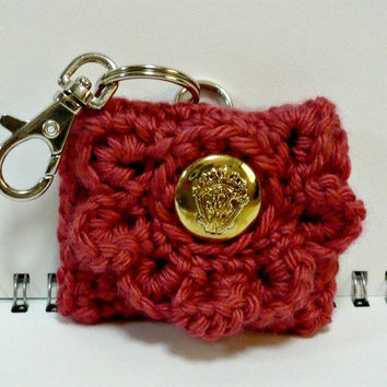 Coin Purse Key Chain Crochet Small Pouch Change by MelbaShoppe