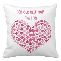 For our best Mom throw pillow with pink heart