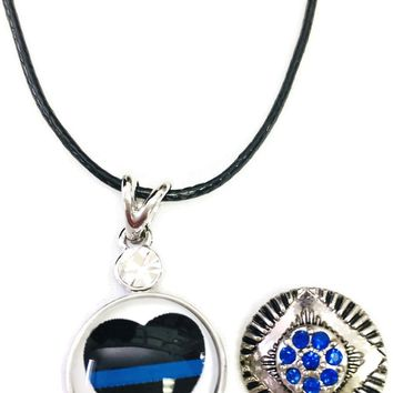 "Heart Officer Thin Blue Line Snap on 18"" Leather Rope Diamond Pendant Necklace W/ Extra 18MM - 20MM Snap Charm"